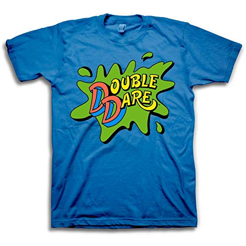 Nickelodeon Mens DoubleDare Shirt - Double Dare Slime Splat Logo - Classic Nick Graphic T-Shirt (Large) Blue -
