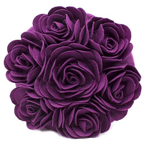 Fennco Styles Multi Rose Motifs Felt 15-inch Round Decorative Throw Pillow (Plum, Case + Insert)
