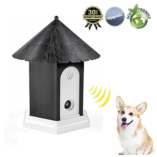 Super Ultrasonic Outdoor Bark Control Device in Birdhouse Shape 2018 Newest Generation (Black)