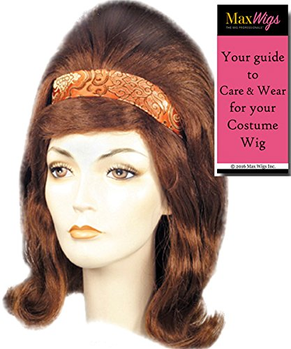 Bandstand Beehive 60s Color Brown - Lacey Wigs Women's Large American TV Flip With Band Hairspray Bundle With MaxWigs Costume Wig Care Guide]()