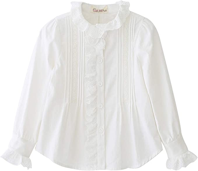 Cicie Girls Cotton White Lace Blouse Button Long Sleeve Shirt