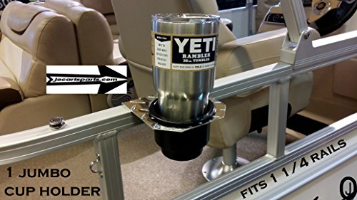 J & O Carts Parts 1 Jumbo Cup Holder Fits 1 1/4 Inch Pontoon Boat Rail Holds A Yeti