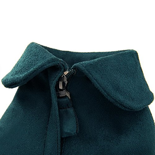 high Toe AmoonyFashion Suede Zipper Ankle Heels Closed Boots Imitated Women's Green Round Kitten rwHvrxI