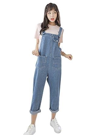 bfe3208512b Amazon.com  Drasawee Women s Loose Classic Long Denim Bib Overalls Pants  Jeans Trousers  Clothing