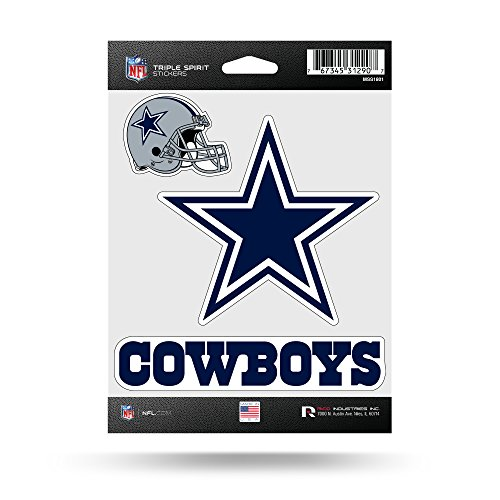 Rico Industries NFL Dallas Cowboys Die Cut 3-Piece Triple Spirit Sticker -
