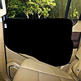 Plush Paws Pet Car Door Cover - Waterproof Machine Washable - Flexible Plastic Tabs Attach - For Cars, Trucks and SUV's - Black