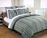 Hotel Collection Bedding 3 Piece King Size Bed Duvet Cover Set Retro VIntage Textured Stripes in Shades of Gray