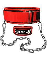 Next Alpha Tyngdlyftarbälte & Dip Belt Kombination - Anpassat Tyngdlyftbälte för Män och Kvinnor - Självlåsande och Snabbfrigörande Bälte - Med Kedja