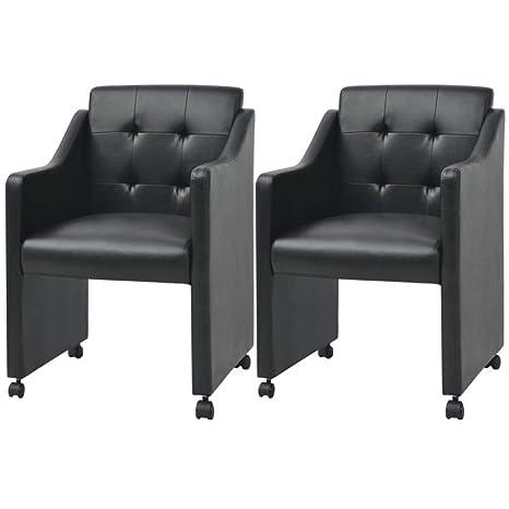 binzhoueushopping sillas de Comedor 2 Unidades Negras 59 x 57,5 x 86 ...
