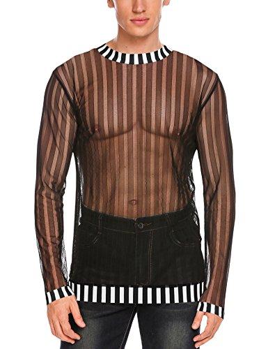 COOFANDY Men's Sexy See Through Top Fishnet Clubwear T-Shirt Mesh - Fishnet Clubwear
