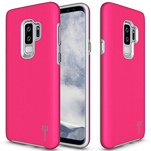 CoverON Samsung Galaxy S9 Plus Case, [Rugged Series] Tough Protective Impact Absorbing Phone Cover with Easy-Press Metal Buttons for Galaxy S9 Plus - Hot Pink