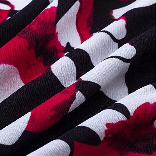 Élégant Moulante Chic De Femmes Aeete Robe Formelle Noire + Floral Rouge