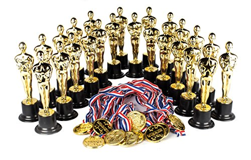 Award Medal of Honor Trophy Award Set of 48 Includes 24 Gold Winner Award Medals; 24 Gold Award Trophy Statues 6, Award Trophies for Award Ceremonies, Party Favors, Goody Bag Stuffers, Party Supplies