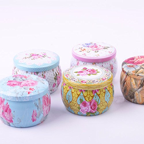 TooGet DIY Candle Pretty Tin Jars, Empty Reusable Tin Cups for Homemade Tealights, Also Great for Dry Storage, Spices, Camping, Party Favors, and Gifts, 4-Pack
