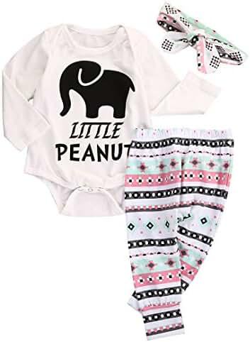 Newborn Infant Baby Boy Girl Elephant Headband+Romper+Pant Leggings Outfits Set