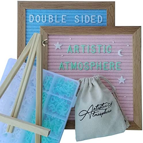 Double Sided Felt Letter Board – Pink and Blue Felt with White and Green Pre-Cut Letters – Baby Announcement Board with Accessories, for Baby Registry Gifts for Expecting Moms and Baby Girl or Boy
