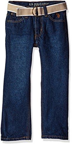 U.S. Polo Assn. Little Boys' 5 Pocket Belted Jeans, Dark Blue Wash, (Belted Five Pocket Jeans)