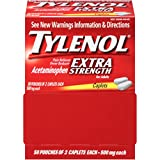 Tylenol Extra Strength Caplets, 500mg, 50 Pouches of 2 Caplets each