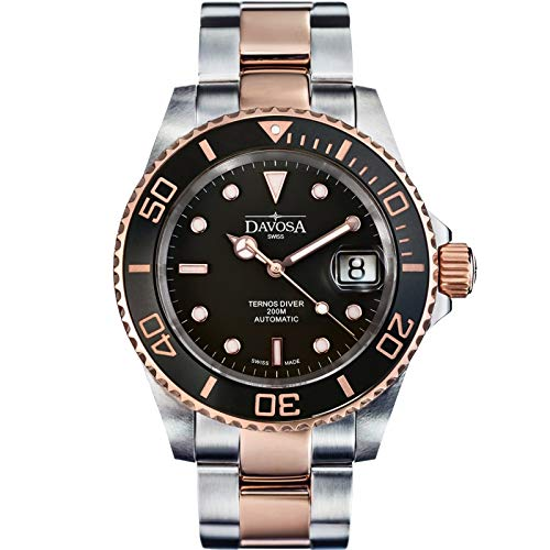 Davosa Swiss Made Dive Watch for Men - Ternos Ceramic Professional Automatic Watch with Analog Display and Unidirectional Luxury Bezel (16155565)]()