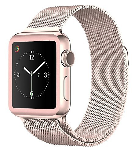 Josi Minea Apple Watch [ 38mm ] 3D Tempered Glass Screen Protector with Edge to Edge Coverage Anti-Scratch Ballistic LCD Cover Guard Premium HD Shield for Apple Watch Series 3 [ 38mm - Rose Gold ] by Josi Minea (Image #4)
