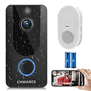 CHWARES 1080P Video Doorbell Camera with Chime, Wireless WiFi Smart Video Doorbell Security Camera with Motion Detection…