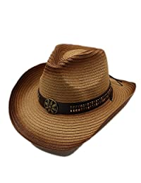 Fashion Hats, Summer Women Men Straw Western Cowboy Hat For Gentleman Adjused Size Sun Beach Cap (Color : 1, Size : 58cm)