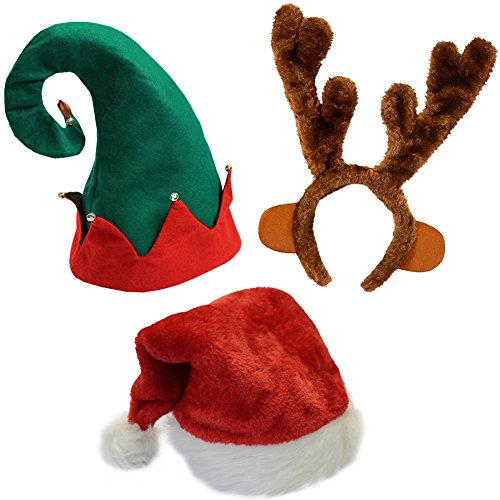 Funny Party Hats Set of 3 Christmas Hats-Santa Hat, Elf Hat, Coil Santa Hat