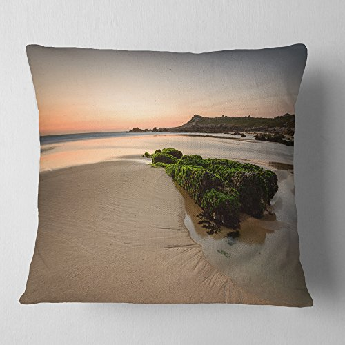 Designart CU9396-26-26 Beach at Sunset in Spain' Seashore Photography Throw Cushion Pillow Cover for Living Room, Sofa, 26'' x 26'' by Designart