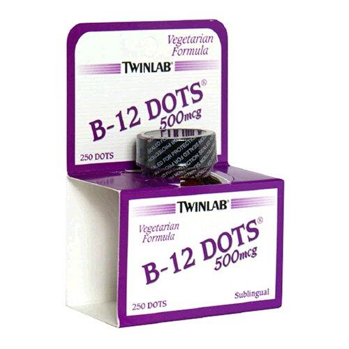 Twinlab B-12 Points de vitamine B-12, 500 mcg, 250 Tablets (Pack de 2)