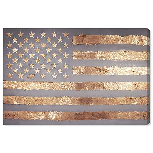 The Oliver Gal Artist Co. Maps and Flags Wall Art Canvas Prints 'Rocky Freedom' Home Décor, 24