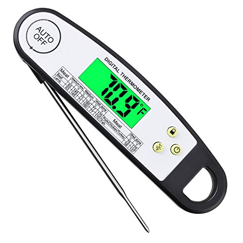 Digital Meat Thermometer,Barbecue BBQ Grill Thermometer,Best Waterproof Ultra Fast Read Meat Thermometer with Backlight for Beef Chicken Pork Lamb Turkey Fish for Kitchen Outdoor Cooking BBQ Grill