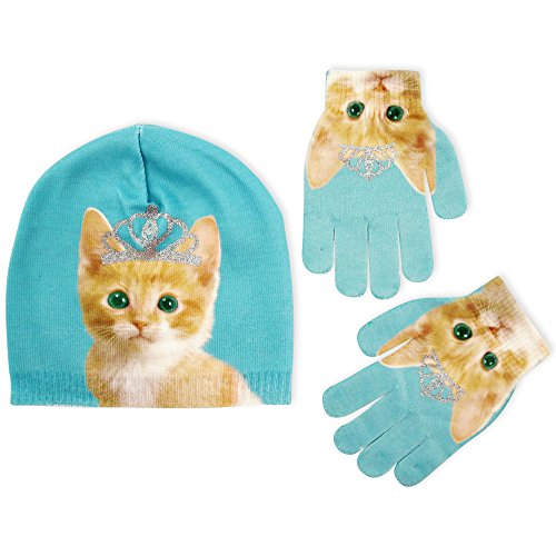 Jersey Print Gloves - ABG Accessories Big Girls Kitty Princess Beanie with Matching Glove Set, Blue, One Size