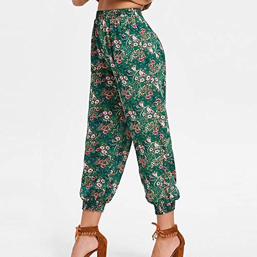 Lache Pants Pantalons Harem de Casual Vert Ample SANFASHION Femme Imprim Sport WnP8PX6q