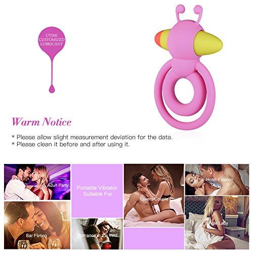 Utimi Vibrating Cock Ring Penis Ring Bee Bullet Vibrator Adult Toys Pink