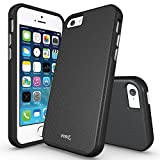iPhone 5S Case, iPhone SE Case, MoboZx [Premium Texture] Dual-Layer [Rugged PC + Flexible TPU] Slim Protective Grippery Heavy-Duty Scratch-Resistant ShockProof Bumper For Apple iPhone SE/5/5S (Black)