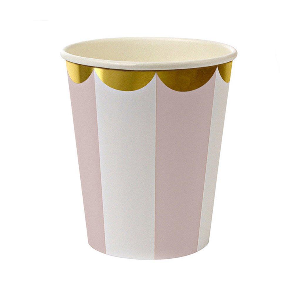 Set di stoviglie da tavola usa e getta a righe rosa con piatti, bicchieri e tovaglioli; decorazioni per feste, matrimoni, compleanni, battesimi, eventi e festival 20PCS Napkins zsl