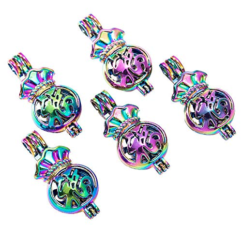 (5X Rainbow Color Lucky Bag Pearl Cage Locket Pendant Essential Oil Diffuser Gift)