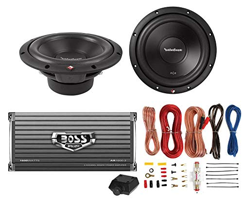 2) Rockford Fosgate R2D4-12 12″ 1000W 4-Ohm Car Subs + 1600W 2-Ch Amp + Amp Kit