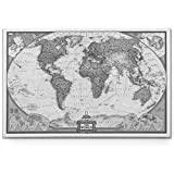 world map poster black and white - World Travel Map Wall Art Collection Executive National Geographic World Travel Map Canvas Prints Wrapped Gallery Wall Art |Ready to Hang, 24X36, White/Black