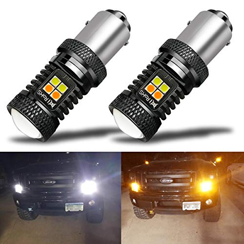 iBrightstar Extremely Bright 3030 Chipsets 1157 2057 2357 7528 BAY15D P21/5W Switchback LED Bulbs with Projector Replacement for Daytime Running Lights/DRL and Turn Signal Lights,White/Amber