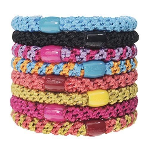 L. Erickson Grab & Go Ponytail Holder Hair Ties, Bright, Set of Eight - Exceptionally Secure with Gentle Hold