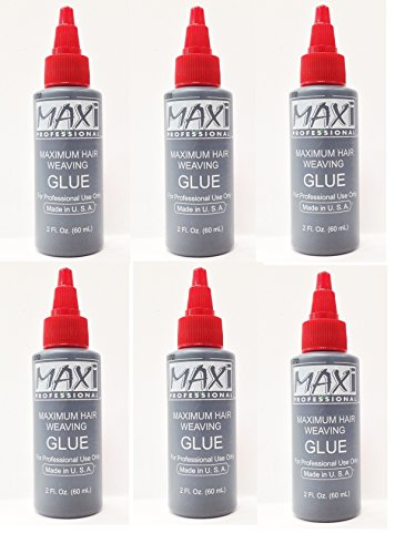 6PCS OF MAXI PROFESSIONAL MAXIMUM HAIR WEAVING GLUE 2oz MADE IN USA