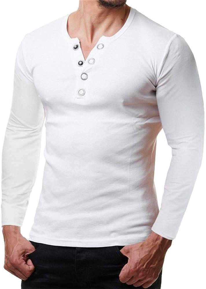 SFYZY Camiseta de Manga Larga de Color Liso para Hombre Camisa de Cuello Redondo Deportiva Casual Salvaje Diseño de botón de Metal Camisa de Polo de Manga Larga Chaqueta