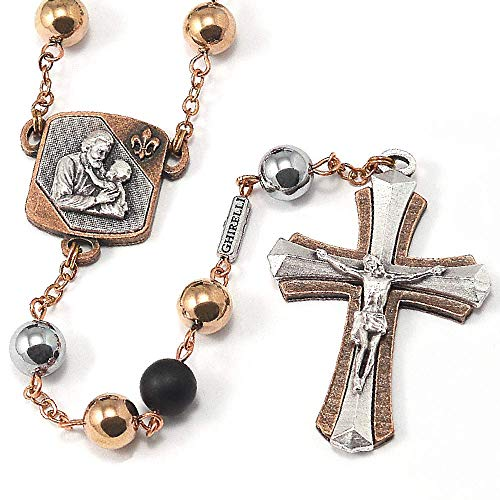 Ghirelli Saint Joseph Rosary in Antique Copper with Hematite Beads 15206