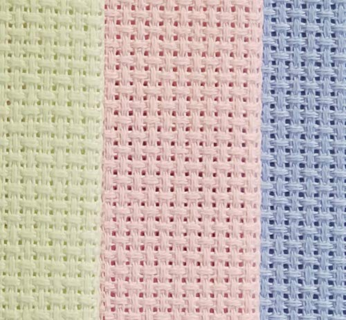 "KCS 12"" x 18"" by 3 Pack 14CT Counted Cotton Aida Cloth Cross Stitch Fabric (Light Blue+Pink+Light Green) - $9.99"
