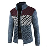 Fashion Men's Slim Warm Hooded Outwear Stand Collar Knit Cardigan Zip Drawsting Coat Sweater (Blue-2, L)