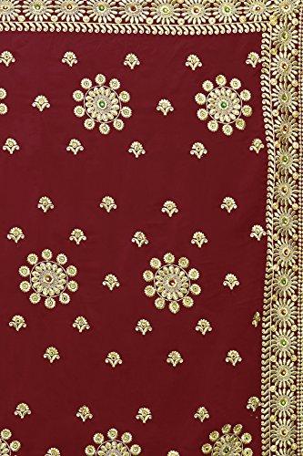 Mirchi Sari 5237 Da Partito maroon Moda Donne Nuziali Sposa Sari Abito Indiano q8ppXA