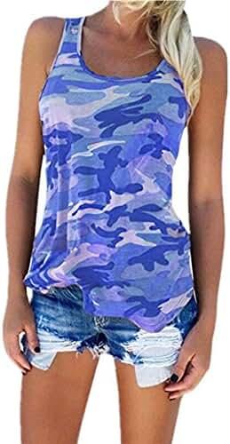 JOYCHEER Women's Camouflage Tank Top Camo Sleeveless Shirts Racerback Sport Tank Top