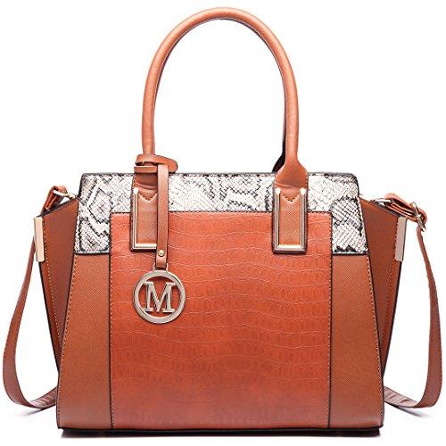 Miss Lulu - Cross Leatherette Bag 6623 Brown Woman