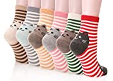 Dosoni Girl Cartoon Animal Cute Casual Cotton Novelty Crew socks 6 packs-Gift Idea (Stripe Cats)